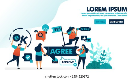 Approve and allow content. Verify and confirm to agree. Yes and okay flag. Agree to in agreement. Flat vector illustration for landing page, web, website, banner, mobile apps, flyer, ads poster, ui ux