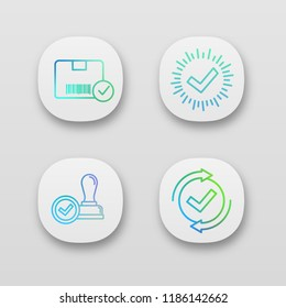 Approve app icons set. Verification and validation. Approved delivery, check mark, stamp of approval, checking process. UI/UX user interface. Web or mobile applications. Vector isolated illustrations
