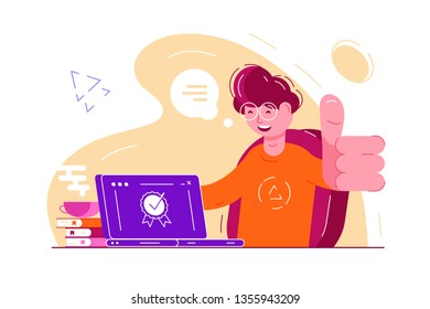 Approve the choice feedback rating. Smiling boy in glasses sitting at laptop and showing thumbs up or like gesture vector illustration. Quality guarantee stamp on computer flat style concept