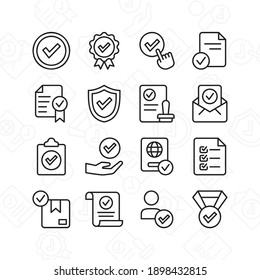 Approve icon set. Contains such Icons as quality check, checklist, and more. Line style design. Vector graphic illustration. Suitable for website design, app, template, ui.