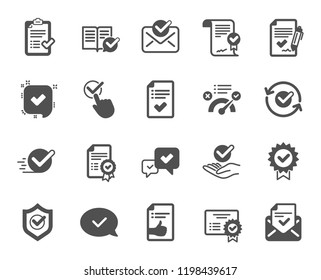 Approve icons. Set of Check List, Certificate and Award medal. Certified document, Accepted approve and Confirm mail icons. Guarantee certificate, Check mark and agreement signs. Vector