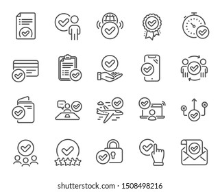Approve line icons. Interviewed, accepted document, right choice. Quality check, protection, checklist icons. Guarantee document, accepted card, approve verification. Flight confirmed. Vector