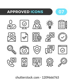 Approve line icons. Outline symbols collection. Premium quality. Pixel perfect. Vector thin line icons set