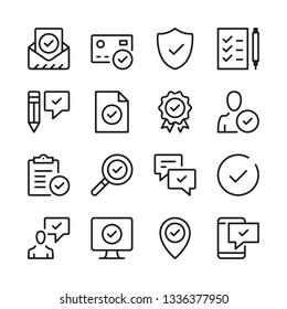 Genehmigen Sie die Zeilensymbole. Markieren Sie Markierungen, Zecken. Moderne Grafikdesign-Konzepte, einfache Rahmenelemente-Kollektion. Vektorliniensymbole