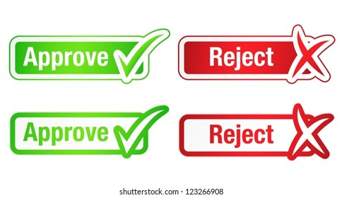 Approve and Reject Buttons with Check Marks