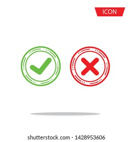 Approve and Reject icon isolated on white background.