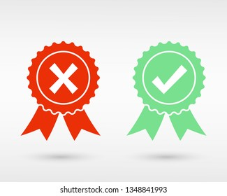 Approve and Reject Medal icon logo. Check mark and cross mark Vector icons