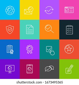 Approve set icon template color editable. Approve pack symbol vector sign isolated on white background icons vector illustration for graphic and web design.