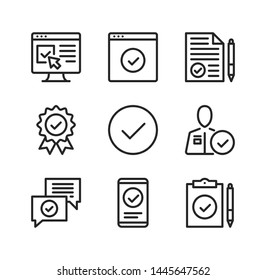 Approve vector line icons. Approval, confirm, checkmarks, quality control, verification concepts. Simple outline symbols, modern linear graphic elements collection. Line icons set