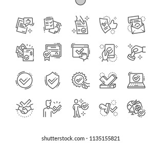 Approve Well-crafted Pixel Perfect Vector Thin Line Icons 30 2x Grid for Web Graphics and Apps. Simple Minimal Pictogram