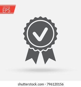 Approved, Accept or Certified icon Medal with ribbons and check mark icon isolated on grey background. Award vector sign. Template design for web or mobile app. Vector illustration.