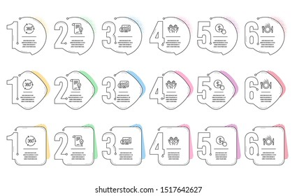 Approved agreement, Bitcoin chart and 360 degree line icons set. Infographic timeline. Buy currency, Food and Medical tablet signs. Vector