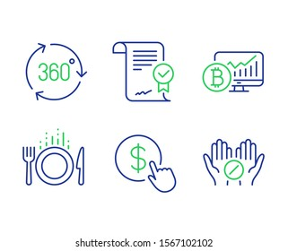 Approved agreement, Bitcoin chart and 360 degree line icons set. Buy currency, Food and Medical tablet signs. Verified document, Cryptocurrency statistics, Virtual reality. Money exchange. Vector