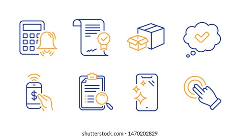 Approved agreement, Packing boxes and Approved line icons set. Search analysis, Phone payment and Smartphone clean signs. Calculator alarm, Touchscreen gesture symbols. Vector