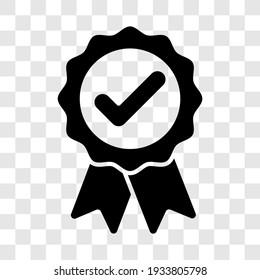 Approved badge sign. Black award ribbon medal symbol icon. Vector illustration transparent background.
