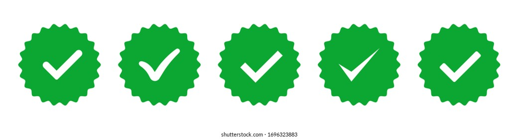 Approved badge vector isolated icons. Green vector check mark. Badge stamp signs symbol. Protect badge. Green tick. EPS 10