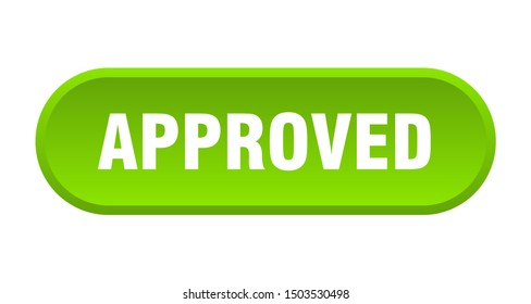 approved button. approved rounded green sign. approved