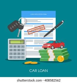 Approved car loan vector illustration. Buying car concept. Auto keys, car model, money, application form.