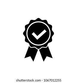 Approved or certified medal icon in a flat design. Award symbol isolated on white background Simple rosette icon in black Vector illustration for graphic design, Web, UI, mobile upp