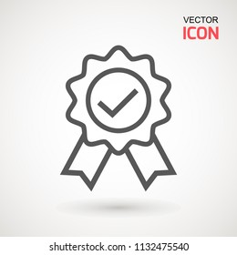 Approved or certified medal icon in a flat design. Rosette icon. Award vector
