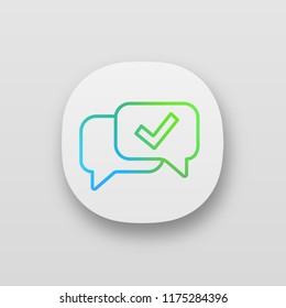 Approved chat app icon. Delivered message. SMS verification. Confirmation dialog. UI/UX user interface. Web application. Message approval. Speech bubble with check mark. Vector isolated illustration
