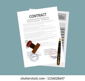 Approved contract with stamp and pen. Approved application concepts. Modern flat design graphic elements for web banners, websites, infographics. Vector illustration.