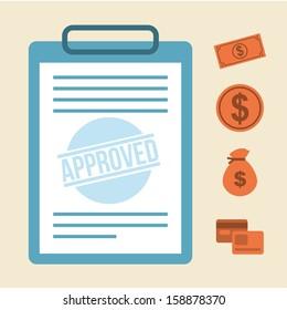 approved design over pink background vector illustration
