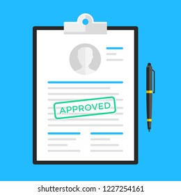Approved document, application form, submission, resume. Clipboard and document with approved stamp and pen. Flat design. Vector illustration
