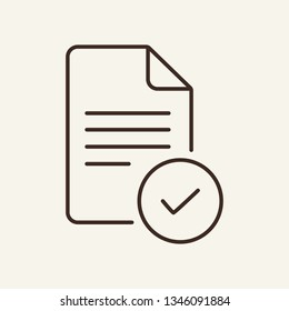 Approved document line icon. Document and check icon. Documents concept. Vector illustration can be used for topics like office, documentation, business report