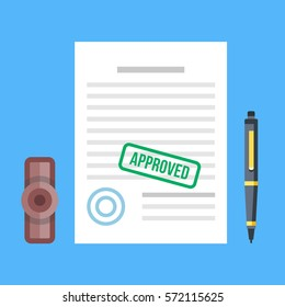 Approved document with stamp and pen. Approved application concepts. Top view. Premium quality. Modern flat design graphic elements for web banners, websites, infographics. Vector illustration.