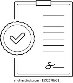 Approved documents. Vector outline icon.
