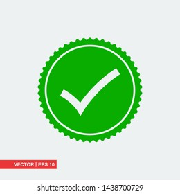 Approved flat icon on white background, vector illustration