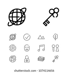 Approved icon with key, music note and cash symbols. Set of check, cash, place icons and toilet concept. Editable vector elements for logo app UI design.