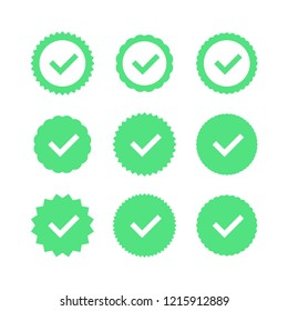 Approved icon. Profile Verification. Accept badge. Quality icon. Check mark. Sticker with tick. Vector illustration.