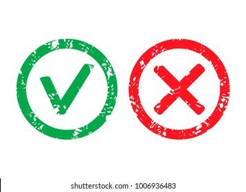Approved label and rejection rubber stamp. Vector mark approved and rejection, rubber seal grunge imprint illustration