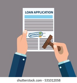 Approved loan application with rubber stamp, vector