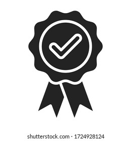 Approved medal, reward black glyph icon. Successful quality concept. Certified, validation element. Sign for web page, mobile app. Vector isolated object.