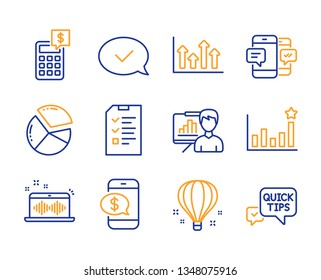Approved message, Efficacy and Presentation board icons simple set. Air balloon, Smartphone sms and Music making signs. Pie chart, Calculator and Phone payment symbols. Line approved message icon