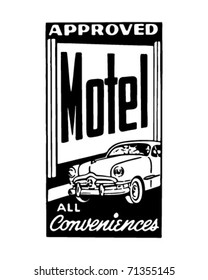 Approved Motel 4 - All Conveniences - Retro Ad Art Banner