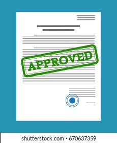 Approved paper document, green approved stamp. Vector illustration in flat style