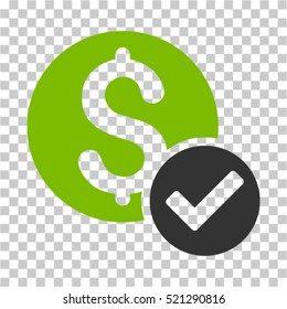 Approved Payment icon. Vector pictogram style is a flat symbol, color, chess transparent background. Designed for software and web interface toolbars and menus.