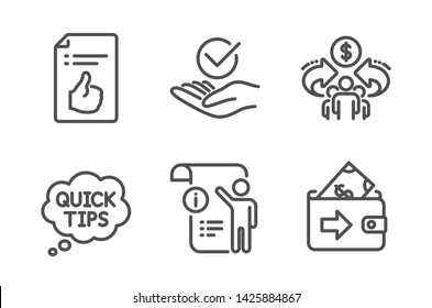 Approved, Quick tips and Sharing economy icons simple set. Approved document, Manual doc and Wallet signs. Verified symbol, Helpful tricks. Education set. Line approved icon. Editable stroke. Vector
