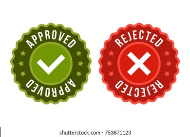 Approved and rejected label sticker icon