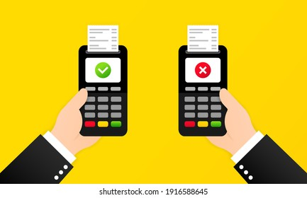 Approved and rejected payment illustration. Wireless payment. Vector on isolated background. EPS 10