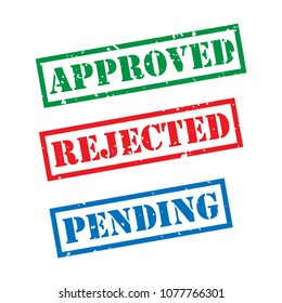 Approved, Rejected, Pending stamp vector template