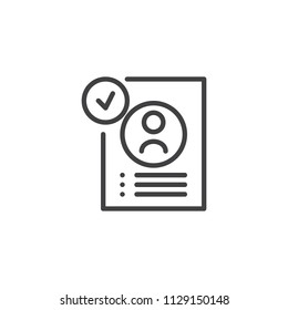 Approved resume outline icon. linear style sign for mobile concept and web design. Job application approved simple line vector icon. Symbol, logo illustration. Pixel perfect vector graphics