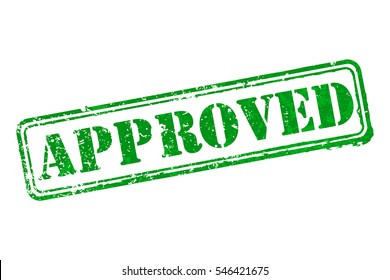 Approved rubber green stamp vector illustration. Contains original brushes