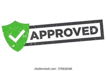 Approved rubber stamp. Grunge design with dust and scratches. Green approval sign vector with check mark and shield.