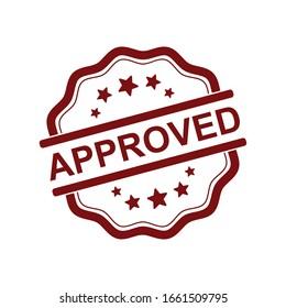 Approved rubber stamp, vector label design