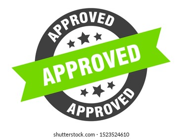 approved sign. approved black-green round ribbon sticker